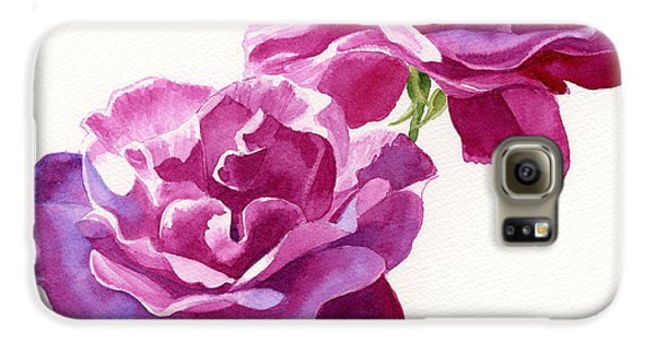 Rose Galaxy S6 Case - Two Red Violet Rose Blossoms Square Design by Sharon Freeman