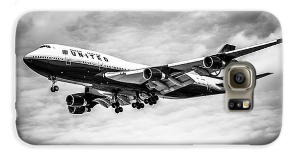 Airplane Galaxy S6 Case - United Airlines Airplane In Black And White by Paul Velgos