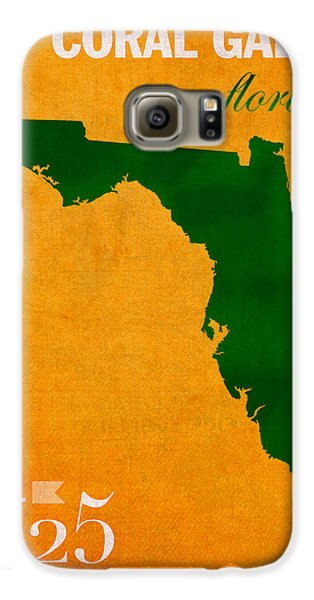 University Of Miami Hurricanes Coral Gables College Town Florida State Map Poster Series No 002 Galaxy S6 Case by Design Turnpike