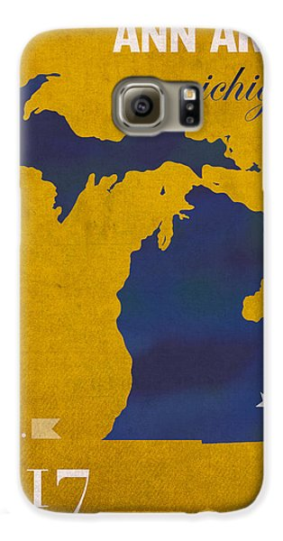 University Of Michigan Wolverines Ann Arbor College Town State Map Poster Series No 001 Galaxy S6 Case by Design Turnpike