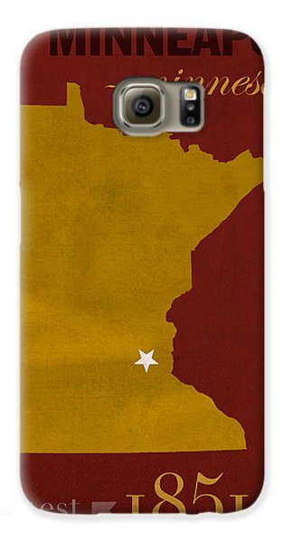 University Of Minnesota Golden Gophers Minneapolis College Town State Map Poster Series No 066 Galaxy S6 Case by Design Turnpike