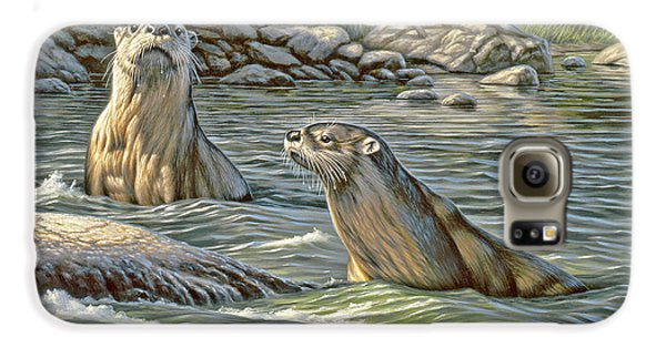 Otter Galaxy S6 Case - Up For Air - River Otters by Paul Krapf