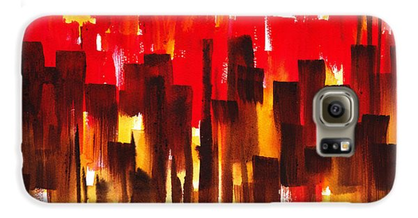 Galaxy S6 Case featuring the painting Urban Abstract Glowing City by Irina Sztukowski