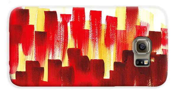 Galaxy S6 Case featuring the painting Urban Abstract Red City Lights by Irina Sztukowski
