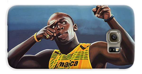 Usain Bolt Painting Galaxy S6 Case by Paul Meijering