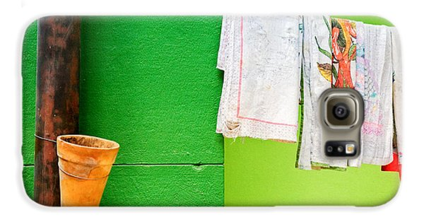 Galaxy S6 Case featuring the photograph Vase Towels And Green Wall by Silvia Ganora