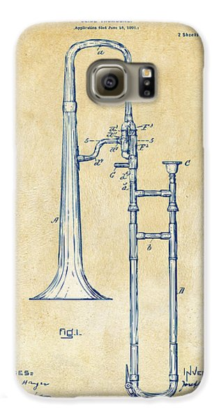 Trombone Galaxy S6 Case - Vintage 1902 Slide Trombone Patent Artwork by Nikki Marie Smith