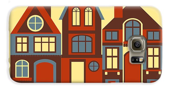 Town Galaxy S6 Case - Vintage City Houses On Yellow Background by Okhristy