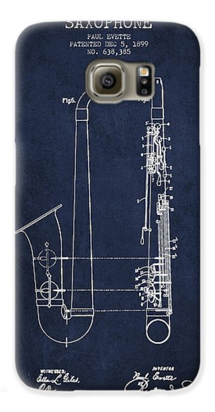 Saxophone Patent Drawing From 1899 - Blue Galaxy S6 Case by Aged Pixel