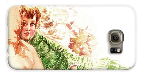 Galaxy S6 Case featuring the painting Vintage Study Lilian Of James Tissot by Irina Sztukowski