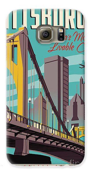 Airplane Galaxy S6 Case - Pittsburgh Poster - Vintage Travel Bridges by Jim Zahniser