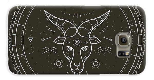 Magician Galaxy S6 Case - Vintage Thin Line Capricorn Zodiac Sign by Painterr
