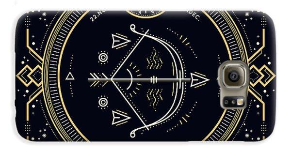 Magician Galaxy S6 Case - Vintage Thin Line Sagittarius Zodiac by Painterr