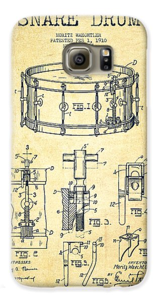 Drum Galaxy S6 Case - Waechtler Snare Drum Patent Drawing From 1910 - Vintage by Aged Pixel