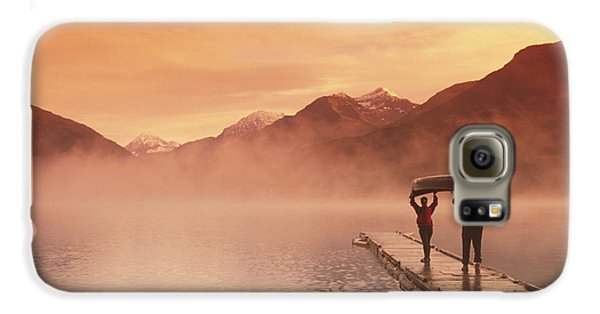 Walking On Dock Robe Lake  Sunrise Sc Galaxy S6 Case by Michael DeYoung