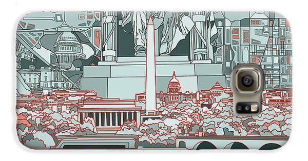 Lincoln Memorial Galaxy S6 Case - Washington Dc Skyline Abstract by Bekim Art