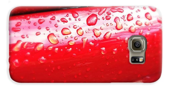 Detail Galaxy S6 Case - Water Drops On Red Car Paint by Matthias Hauser