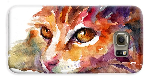 Watercolor Orange Tubby Cat Galaxy S6 Case