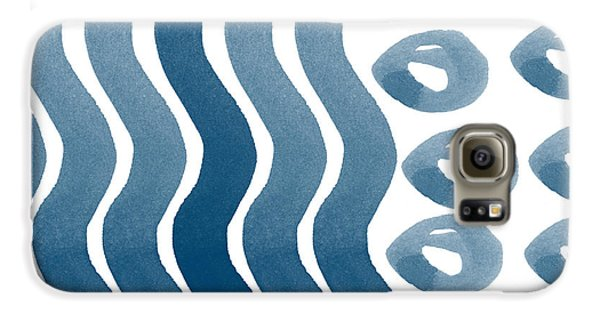 Waves And Pebbles- Abstract Watercolor In Indigo And White Galaxy S6 Case by Linda Woods