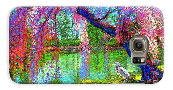 Weeping Beauty, Cherry Blossom Tree And Heron Galaxy S6 Case