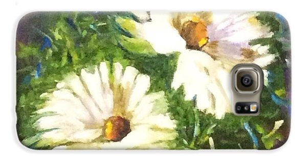 Galaxy S6 Case featuring the painting White Daisies  by Patti Ferron