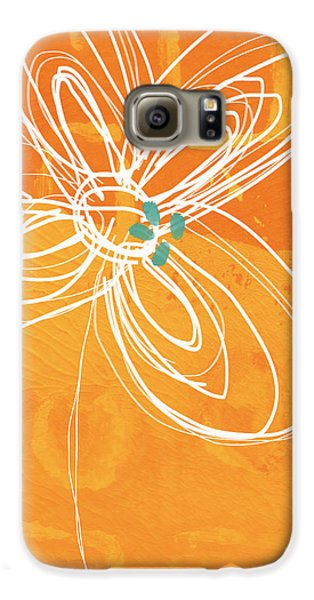 White Flower On Orange Galaxy S6 Case