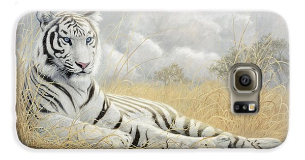 White Tiger Galaxy S6 Case by Lucie Bilodeau