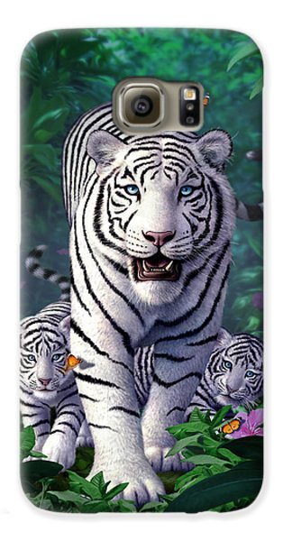 Tiger Galaxy S6 Case - White Tigers by Jerry LoFaro