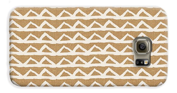 White Triangles On Burlap Galaxy S6 Case by Linda Woods