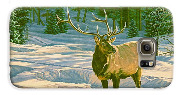 Bull Galaxy S6 Case - Winter Forage - Elk by Paul Krapf