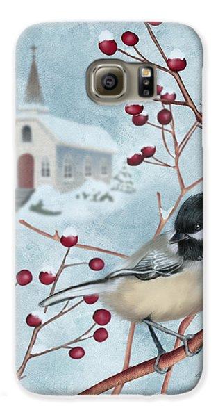 Chickadee Galaxy S6 Case - Winter Scene I by April Moen