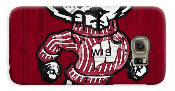 Wisconsin Badgers College Sports Team Retro Vintage Recycled License Plate Art Galaxy S6 Case by Design Turnpike