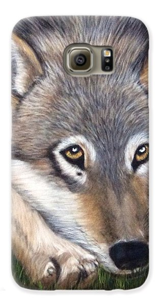 Galaxy S6 Case featuring the painting Wolf by Patti Ferron