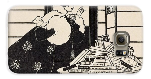 Woman In A Bookshop Galaxy S6 Case by Aubrey Beardsley