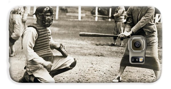 Woman Tennis Star At Bat Galaxy S6 Case by Underwood Archives