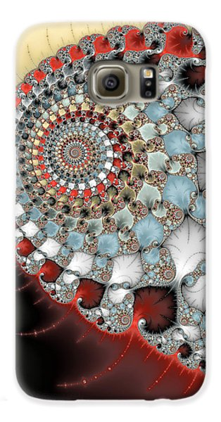 Wonderful Abstract Fractal Spirals Red Grey Yellow And Light Blue Galaxy S6 Case by Matthias Hauser