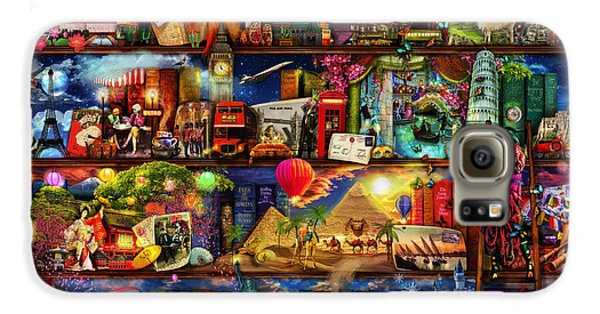 World Travel Book Shelf Galaxy S6 Case by Aimee Stewart