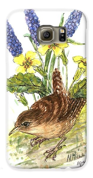 Wren In Primroses  Galaxy S6 Case by Nell Hill