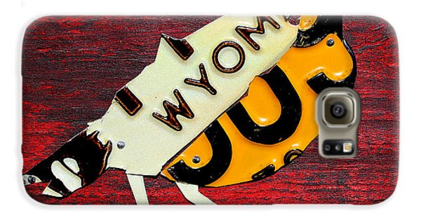 Wyoming Meadowlark Wild Bird Vintage Recycled License Plate Art Galaxy S6 Case by Design Turnpike