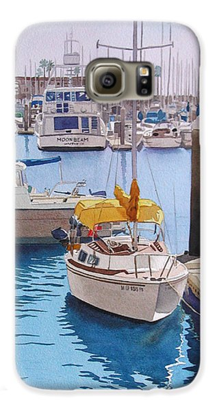 Boat Galaxy S6 Case - Yellow Sailboat Oceanside by Mary Helmreich