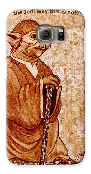 Galaxy S6 Case featuring the painting Yoda Wisdom Original Coffee Painting by Georgeta Blanaru