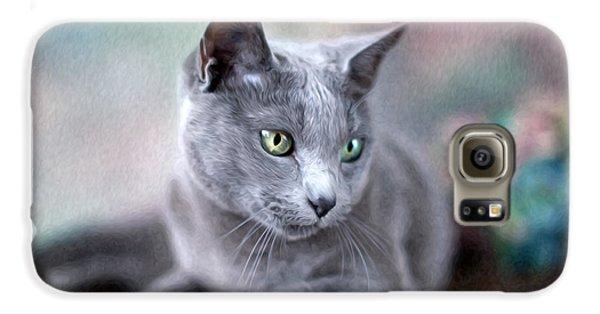 Cat Galaxy S6 Case - Russian Blue by Nailia Schwarz