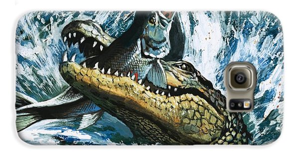 Alligator Eating Fish Galaxy S6 Case by English School