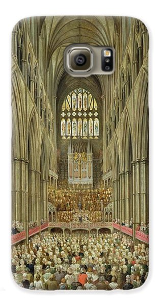 An Interior View Of Westminster Abbey On The Commemoration Of Handel's Centenary Galaxy S6 Case by Edward Edwards