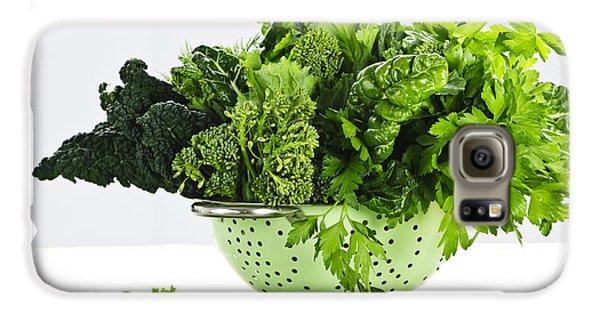 Dark Green Leafy Vegetables In Colander Galaxy S6 Case by Elena Elisseeva