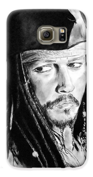 Johnny Depp As Captain Jack Sparrow In Pirates Of The Caribbean Galaxy S6 Case by Jim Fitzpatrick