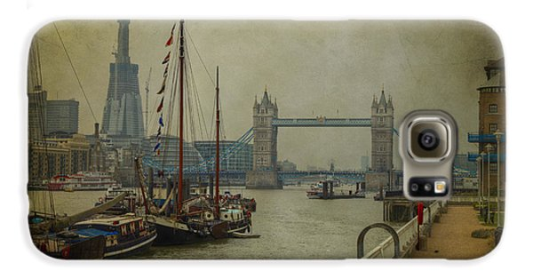 Galaxy S6 Case featuring the photograph Moored Thames Barges. by Clare Bambers