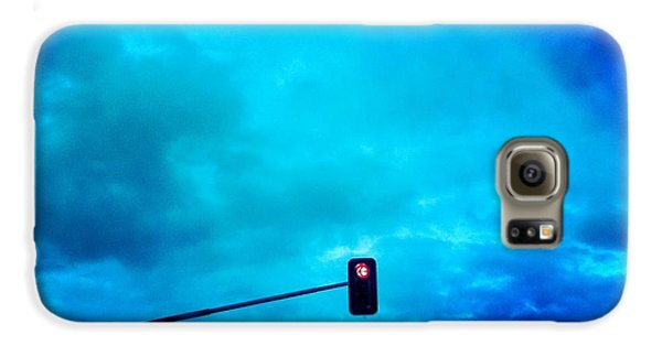 Light Galaxy S6 Case - Red Traffic Light And Cloudy Blue Sky by Matthias Hauser