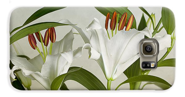 Lily Galaxy S6 Case - White Lilies by Nailia Schwarz