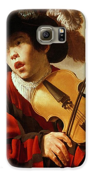 Boy Playing Stringed Instrument And Singing Galaxy S6 Case by Hendrick Ter Brugghen